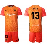Barcelona Goalkeeper #13 NETO Orange 2020-21 Jersey