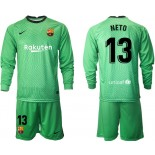 Barcelona Goalkeeper #13 NETO Green Long Sleeve 2020-21 Jersey