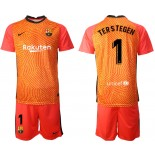 Barcelona Goalkeeper #1 TER STEGEN Orange 2020-21 Jersey
