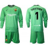 Barcelona Goalkeeper #1 TER STEGEN Green Long Sleeve 2020-21 Jersey
