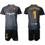 Barcelona Goalkeeper #1 TER STEGEN Black 2020-21 Jersey