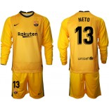 Barcelona Goalkeeper #13 NETO Yellow Long Sleeve 2020-21 Jersey