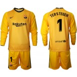 Barcelona Goalkeeper #1 TER STEGEN Yellow Long Sleeve 2020-21 Jersey