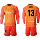 Barcelona Goalkeeper #13 NETO Orange Long Sleeve 2020-21 Jersey