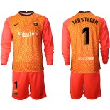 Barcelona Goalkeeper #1 TER STEGEN Orange Long Sleeve 2020-21 Jersey