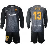 Barcelona Goalkeeper #13 NETO Black Long Sleeve 2020-21 Jersey