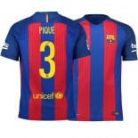 Barcelona 2016/17 Gerard Pique Home Jersey - Replica Blue Red Stripes Barcelona #3 Short Shirt For Sale Size XS S M L XL