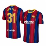 Womens 2020/21 Womens Barcelona #31 Ansu Fati Home Blue Red Replica Jersey