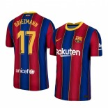 2020/21 Barcelona #17 Antoine Griezmann Home Blue Red Replica Jersey