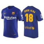 Men's Barcelona #18 Jordi Alba Navy Blue T-Shirt