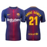 Men's 2017/18 Andre Gomes #21 Barcelona Blue Red Stripes Authentic Home Jersey