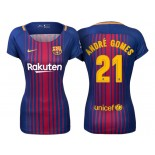 Women's 2017/18 Andre Gomes #21 Barcelona Blue Red Stripes Replica Home Jersey