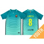 Youth Barcelona Andres Iniesta Green Glow 2016/17 Third Jersey