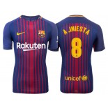 Men's 2017/18 Andres Iniesta #8 Barcelona Blue Red Stripes Replica Home Jersey