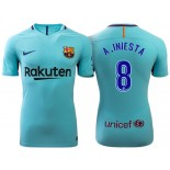 Andres Iniesta #8 Barcelona 2017-18 Sky Blue Away Authentic Jersey
