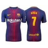 Men's 2017/18 Arda Turan #7 Barcelona Blue Red Stripes Authentic Home Jersey