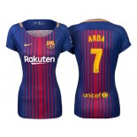 Women's 2017/18 Arda Turan #7 Barcelona Blue Red Stripes Authentic Home Jersey