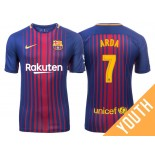 Youth 2017/18 Arda Turan #7 Barcelona Blue Red Stripes Home Jersey