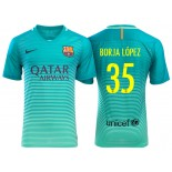 Men's Barcelona Borja Lopez Green Glow 2016/17 Authentic Third Jersey