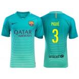 Men's Barcelona Gerard Pique Green Glow 2016/17 Replica Third Jersey