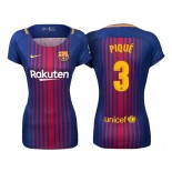 Women's 2017/18 Gerard Pique #3 Barcelona Blue Red Stripes Authentic Home Jersey