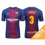 Youth 2017/18 Gerard Pique #3 Barcelona Blue Red Stripes Home Jersey