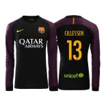 Men's Barcelona Jasper Cillessen 2016/17 Goalkeeper Black & Purple Replica Home Jersey