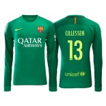 Men's Barcelona Jasper Cillessen Green 2016/17 Road Goalkeeper Shirt