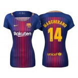Women's 2017/18 Javier Mascherano #14 Barcelona Blue Red Stripes Replica Home Jersey
