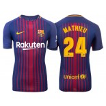 Men's 2017/18 Jeremy Mathieu #24 Barcelona Blue Red Stripes Authentic Home Jersey