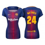 Women's 2017/18 Jeremy Mathieu #24 Barcelona Blue Red Stripes Authentic Home Jersey