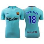 Jordi Alba #18 Barcelona 2017-18 Sky Blue Away Authentic Jersey