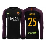 Men's Barcelona Jordi Masip 2016/17 Goalkeeper Black & Purple Replica Home Jersey