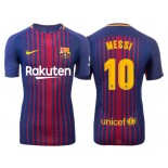 Men's 2017/18 Lionel Messi #10 Barcelona Blue Red Stripes Authentic Home Jersey