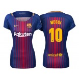 Women's 2017/18 Lionel Messi #10 Barcelona Blue Red Stripes Replica Home Jersey
