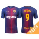 Youth 2017/18 Luis Suarez #9 Barcelona Blue Red Stripes Home Jersey