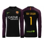 Men's Barcelona Marc-Andre ter Stegen 2016/17 Goalkeeper Black & Purple Replica Home Jersey