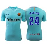 Marlon Santos #24 Barcelona 2017-18 Sky Blue Away Authentic Jersey