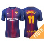 Youth Ousmane Dembele #11 Barcelona 2017-18 Royal Home Replica Jersey