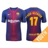 Youth 2017/18 Paco Alcacer #17 Barcelona Blue Red Stripes Home Jersey