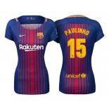 Women Paulinho #15 Barcelona 2017-18 Royal Home Authentic Jersey