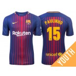 Youth Paulinho #15 Barcelona 2017-18 Royal Home Authentic Jersey
