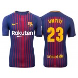 Men's 2017/18 Samuel Umtiti #23 Barcelona Blue Red Stripes Replica Home Jersey