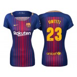 Women's 2017/18 Samuel Umtiti #23 Barcelona Blue Red Stripes Authentic Home Jersey