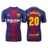 Men's 2017/18 Sergi Roberto #20 Barcelona Blue Red Stripes Replica Home Jersey
