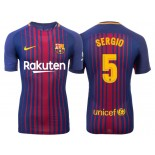 Men's 2017/18 Sergio Busquets #5 Barcelona Blue Red Stripes Authentic Home Jersey