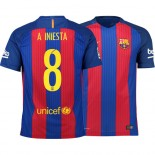 Barcelona 2016/17 Andres Iniesta Home Jersey - Replica Blue Red Stripes Barcelona #8 Short Shirt For Sale Size XS S M L XL