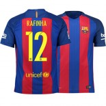 Barcelona 2016/17 Rafinha Home Jersey - Replica Blue Red Stripes Barcelona #12 Short Shirt For Sale Size XS S M L XL