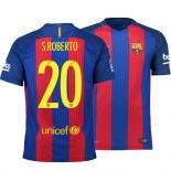 Barcelona 2016/17 Sergi Roberto Home Jersey - Replica Blue Red Stripes Barcelona #20 Short Shirt For Sale Size XS S M L XL