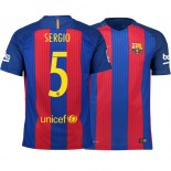 Barcelona 2016/17 Sergio Busquets Home Jersey - Replica Blue Red Stripes Barcelona #5 Short Shirt For Sale Size XS S M L XL